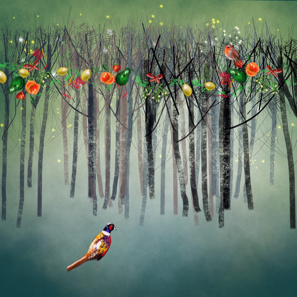 Pheasant In Wood, christmas digital print, vibrant, original, John Lewis and  Childrens' illustrator