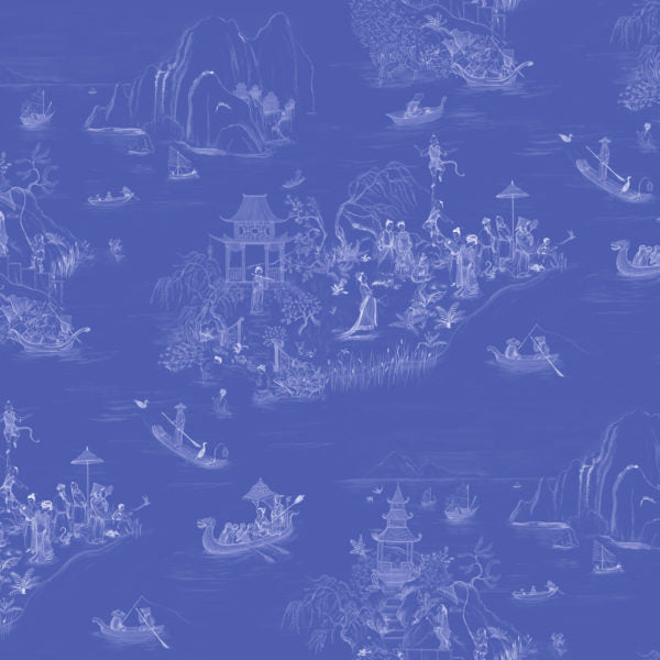 Wallpaper: Courtesan Chinoiserie, White on Indigo