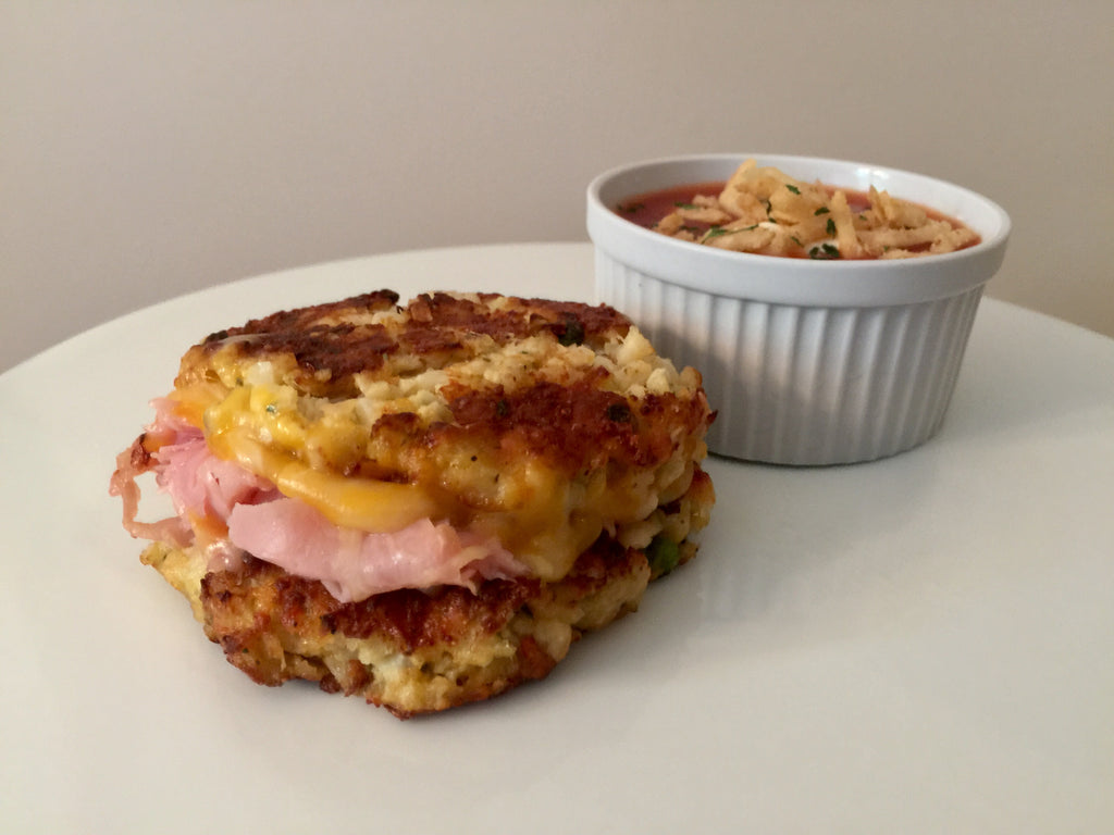 """Cauliflower Crusted Hot Ham and Cheese""-Lower Carb"