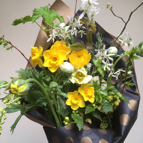 Seasonal flowers and Pacific Northwest Flowers in handtied bouquet