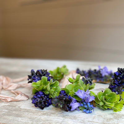 flower crown with seasonal flowers and silk ribbon