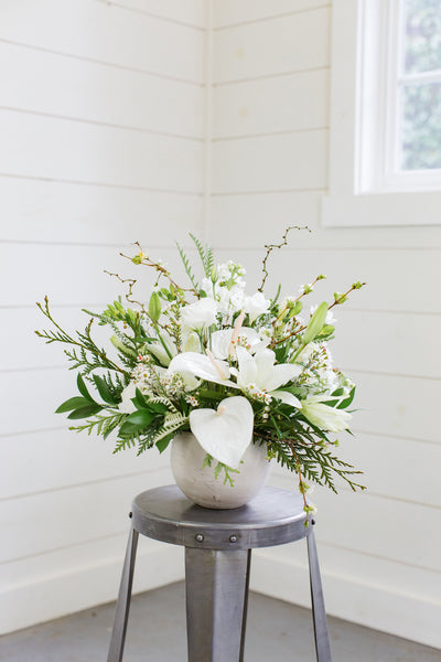 Mixture of white flowers and greenery in white ceramic vase