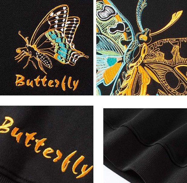 Butterfly Embroidered Sweatshirt MugenSoul Streetwear Brands Streetwear Clothing  Techwear