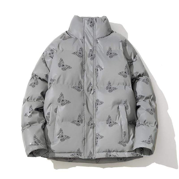 Butterfly Reflective Winter Puffer Jacket MugenSoul Streetwear Brands Streetwear Clothing  Techwear