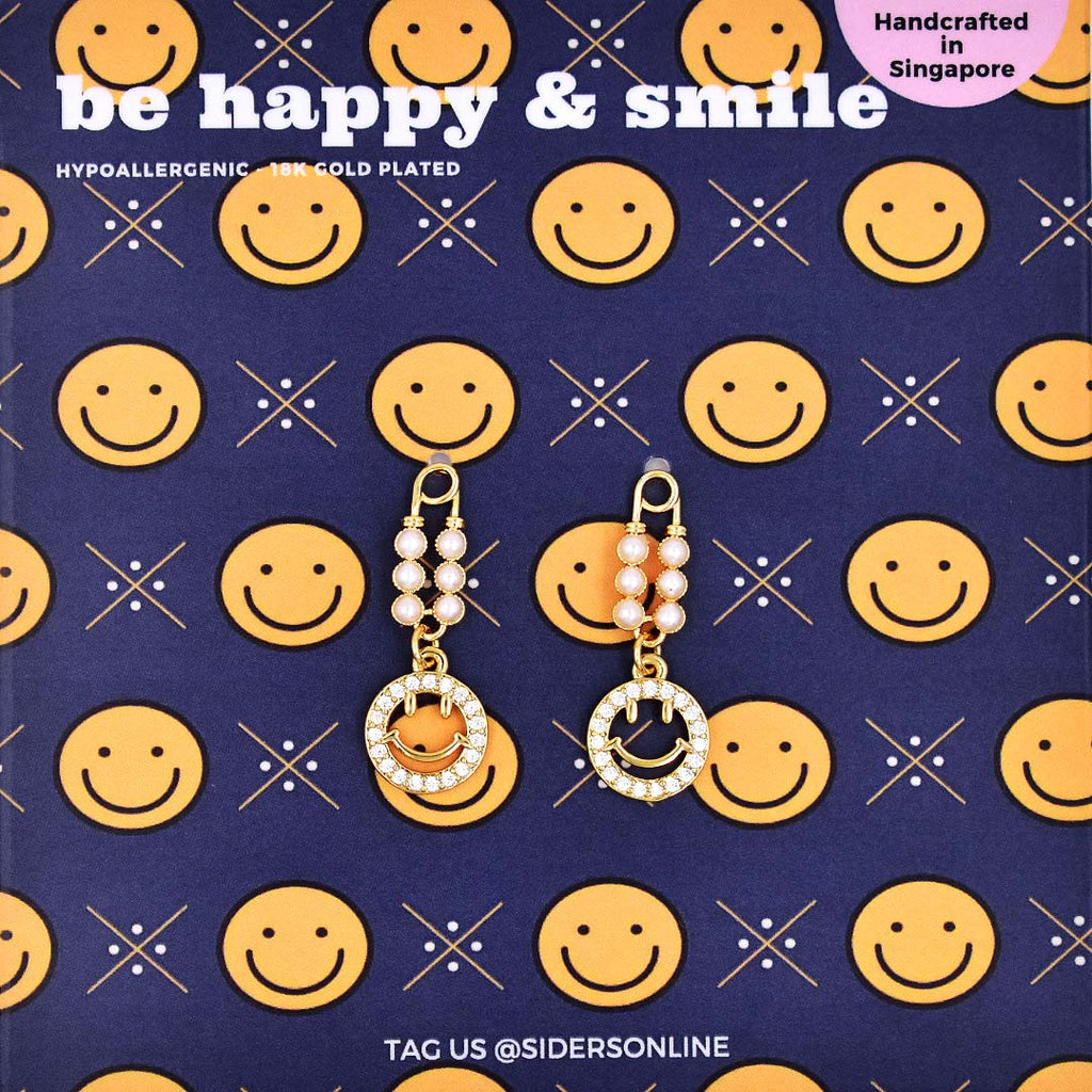 Be Happy and Smile Drop Earrings