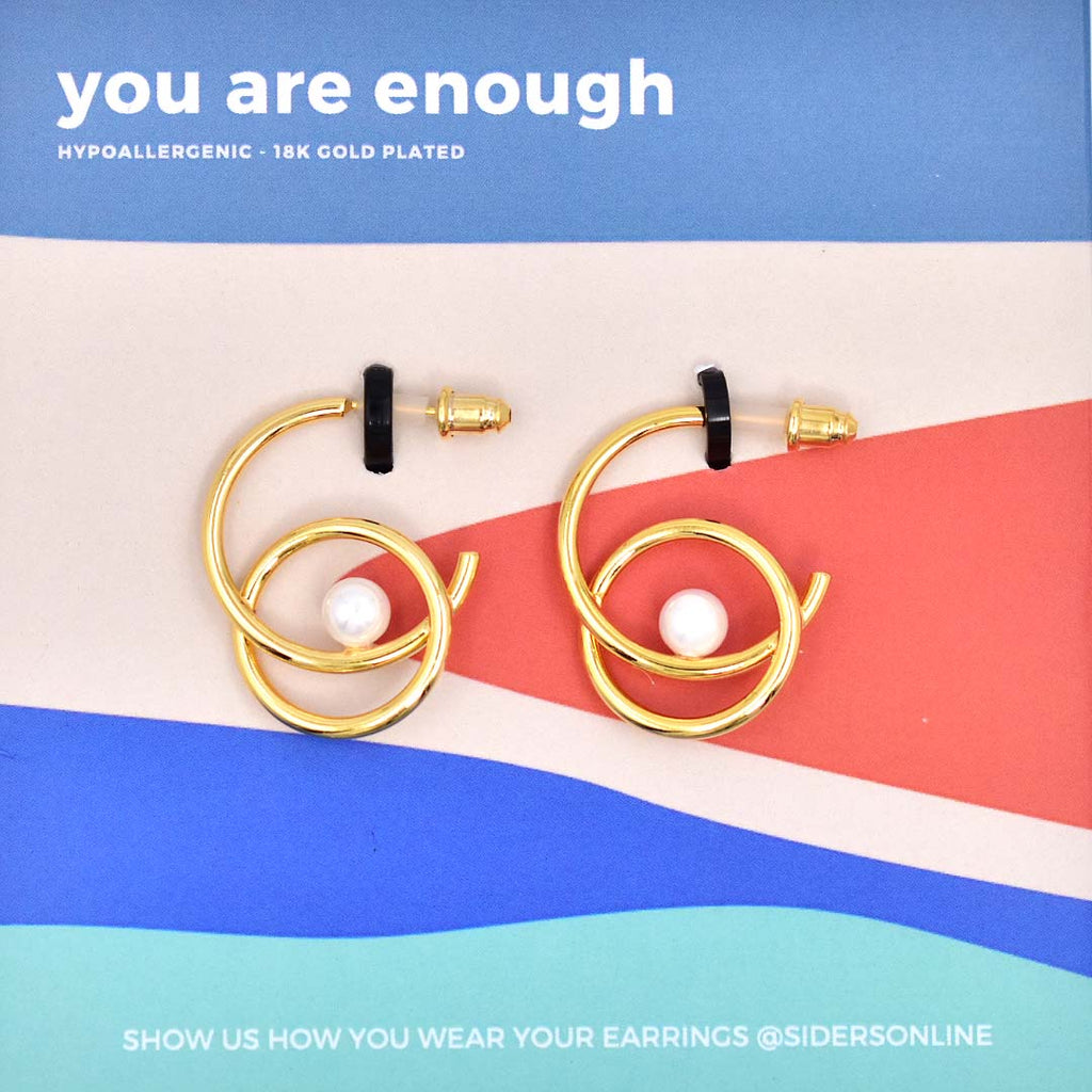 You are Enough Pearl Hoops