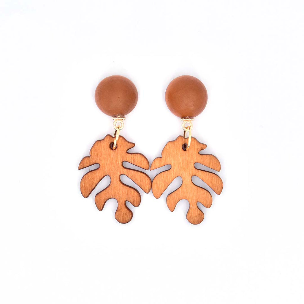 Smiles of Nature Monstera Wood Earrings