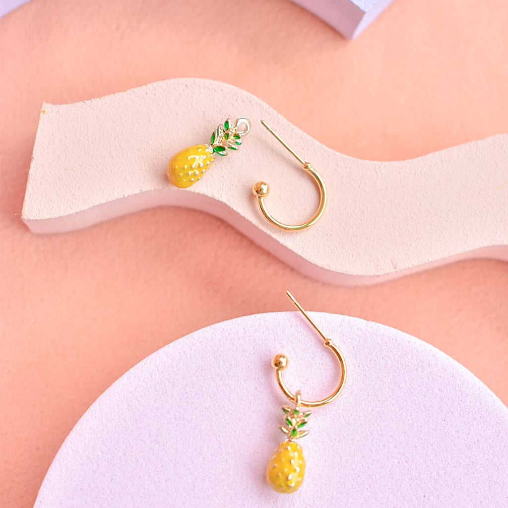 Golden Pineapple Hoop Earrings