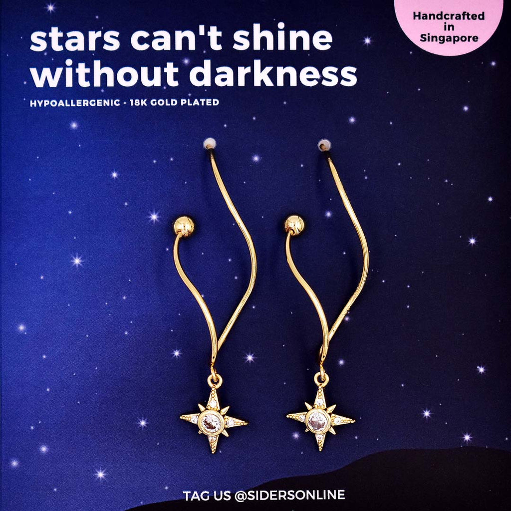 Stars Can't Shine Without Darkness Long Earrings