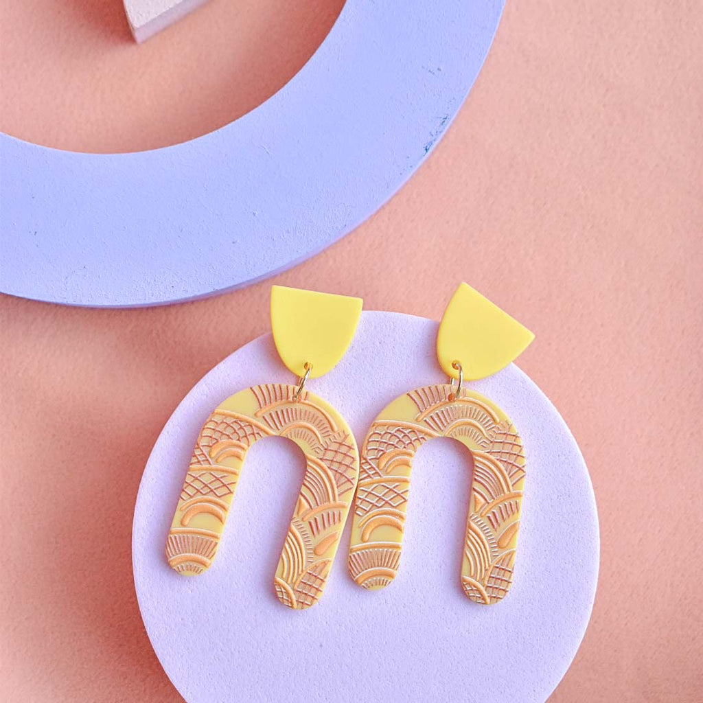 Statement Abstract Earrings in Mustard Yellow
