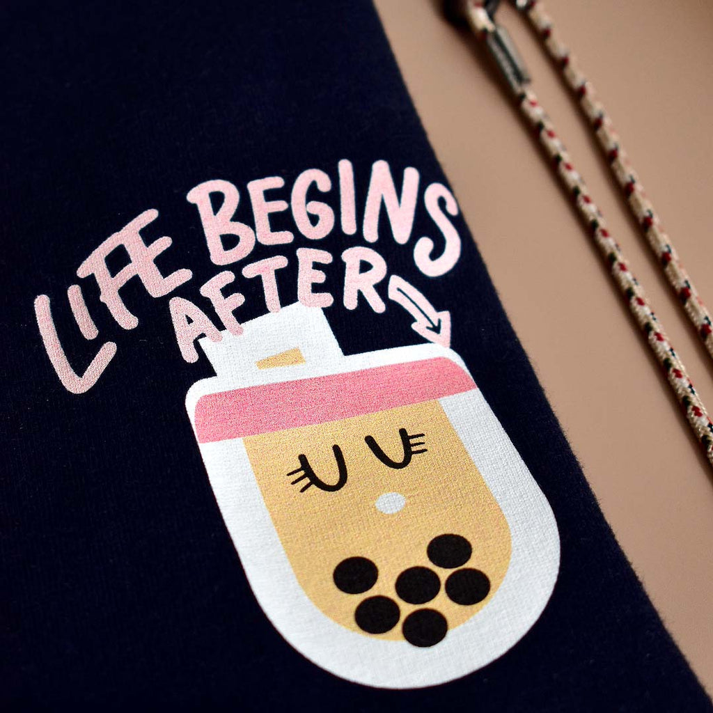 Life Begins After Bubble Tee Navy