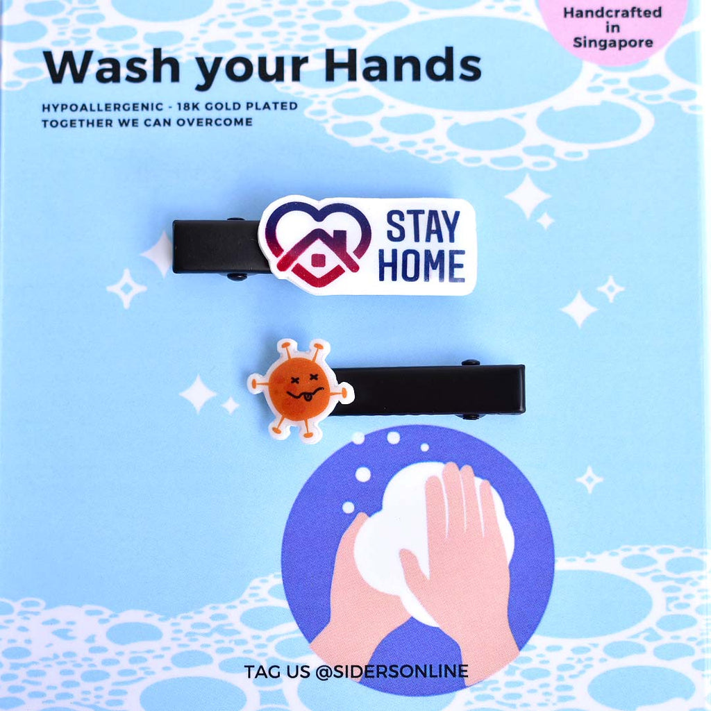 Wash Your Hands Hair Clips