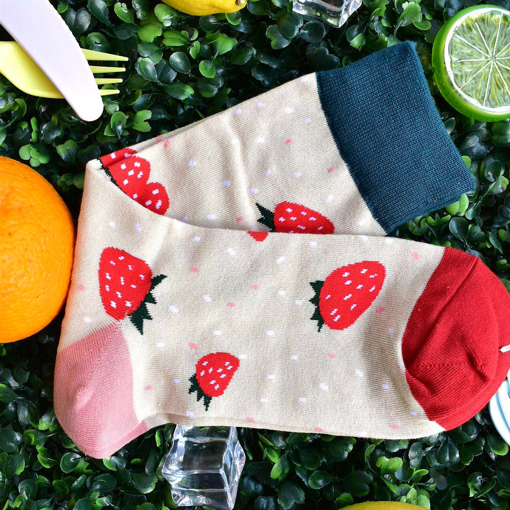 Fresh Cut Strawberries Socks