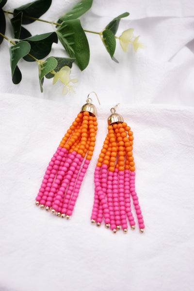 Brandy Beaded Tassel Earrings