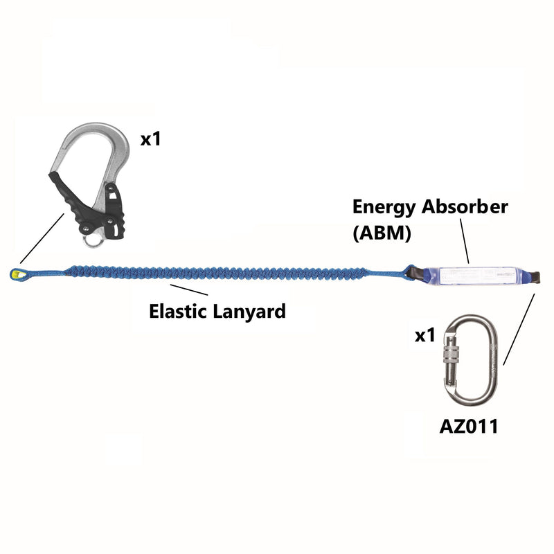 Image of ELASTIC Fall Arrest LANYARD with Energy Absorber @2Mtrs Snap Hook & Carabiner