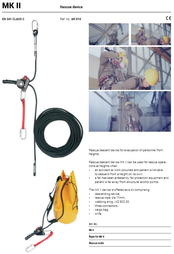 Rescue Descent Device Kit (AR010) - 20Mtrs