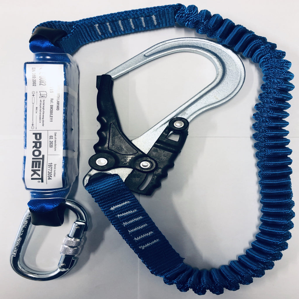 ELASTIC Fall Arrest LANYARD with Energy Absorber @2Mtrs Snap Hook & Carabiner
