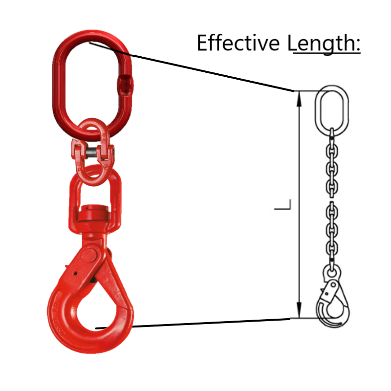 Short Stuck for room Drop Single Leg Chain with Swivel Self Locking Safety Hook effective Length explained