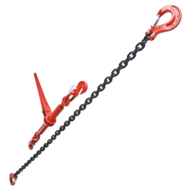 Tie Down Chain and Ratchet Binder Example with Sling Hooks each end