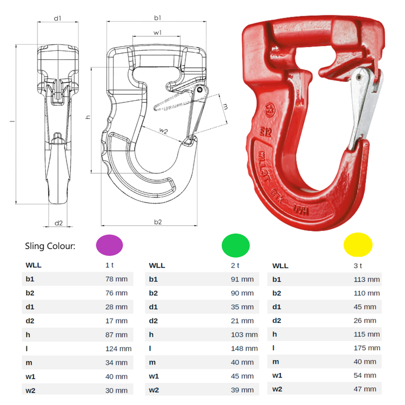Webbing Round Sling Hook Grade 80 Latch Lock Spec Sheet Dimensions