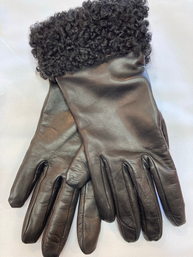 Fratelli Orsini Cashmere Lined Leather Gloves with Persian Cuff