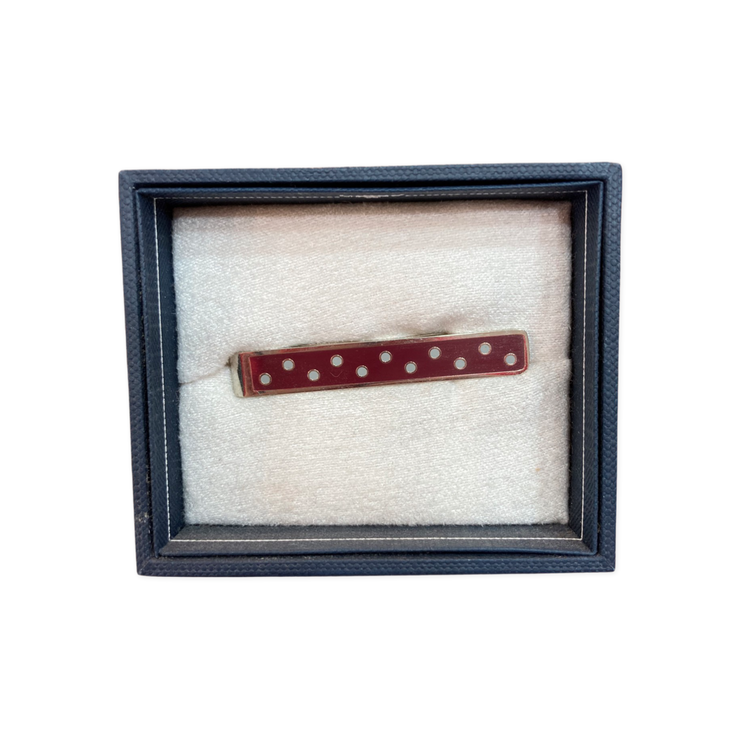Ox & Bull Maroon and Gray Polka Dot Tie Bar