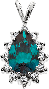 AKIVAGIL0017; 14K White Gold Pendant w/Blue-Green Tourmaline and Diamonds