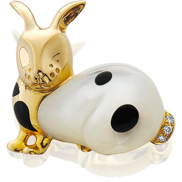 ASCHGROSS0017; 14K Yellow Gold Bunny Pin w/Black Onyx and Mother-of-Pearl