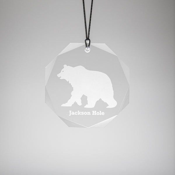 GL500G; Crystal Round Grizzly Bear Ornament w/Beveled Edges