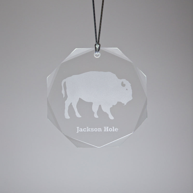 GL500B; Crystal Round Bison Ornament  w/Beveled Edges
