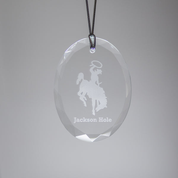 GL500BB; Crystal Oval Bucking Bronco Ornament w/Beveled Edges