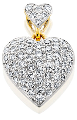 COAST003; 14K Yellow Gold Double Heart Pendant w/Diamonds