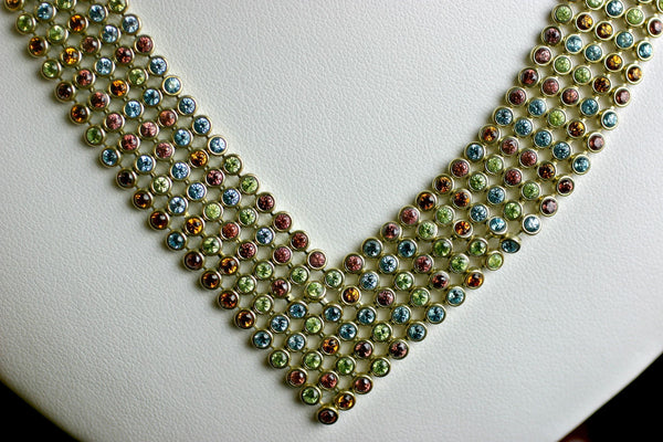 "CSP501; 14K Yellow Gold 18""  'Jewelmesh' Necklace w/Citrine, Rhodolite Garnet, Peridot and Blue Topaz"