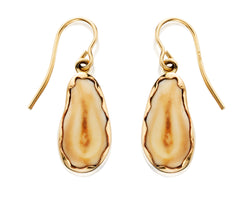 EIE108; 14K Yellow Gold Elk Ivory Earrings Bezel Set w/French Wires