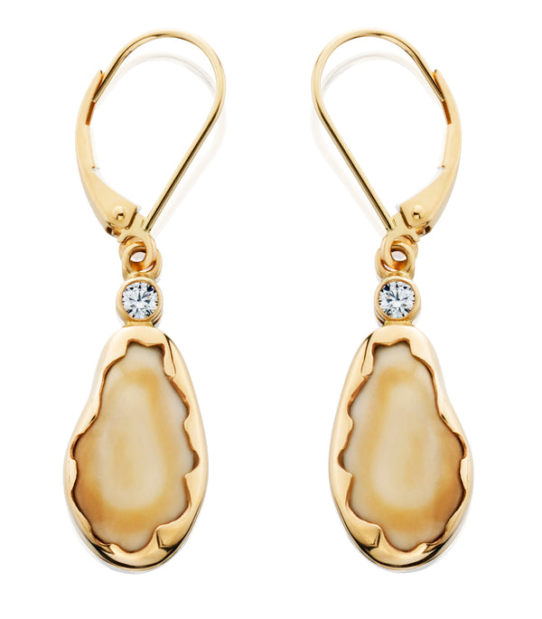 EIE109D; 14K Yellow Gold Elk Ivory Earrings w/Diamonds, Lever-Backs