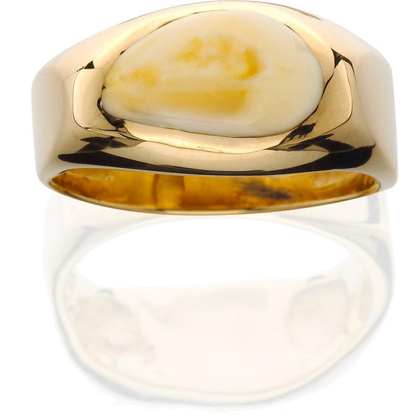 EIR501;  14K Yellow Gold Mans Ring w/Elk Ivory