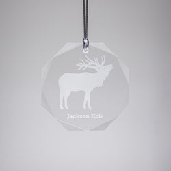 GL500E; Crystal Round Bull Elk Ornament w/Beveled Edges