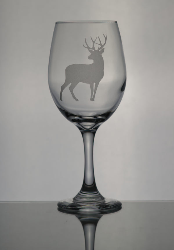 GL005D; X-Large Wine Goblet w/Deer