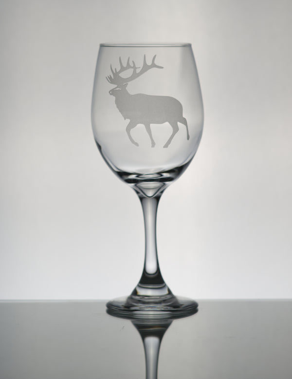 GL005E;  X-Large Wine Goblet w/Walking Elk
