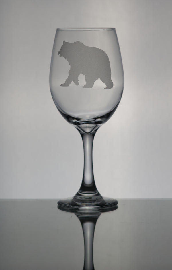 GL005G; X-Large Wine Goblet w/Grizzly Bear