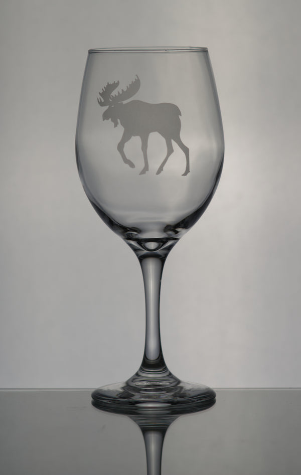 GL005M; X-Large Wine Goblet w/Moose