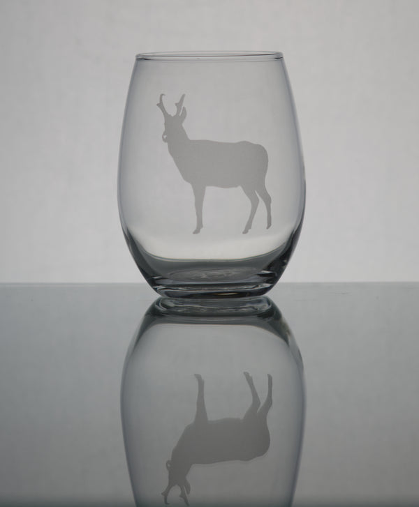 GL007A; 15oz Stemless Wine Glass w/Pronghorn Antelope