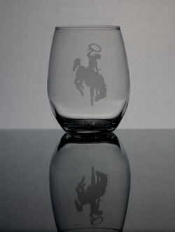 GL007BB; Small Stemless Wine Glass w/Bucking Bronco