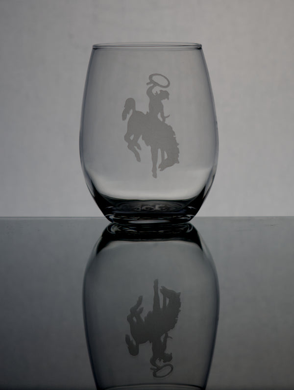 GL007BB; 15oz Stemless Wine Glass w/Bucking Bronco