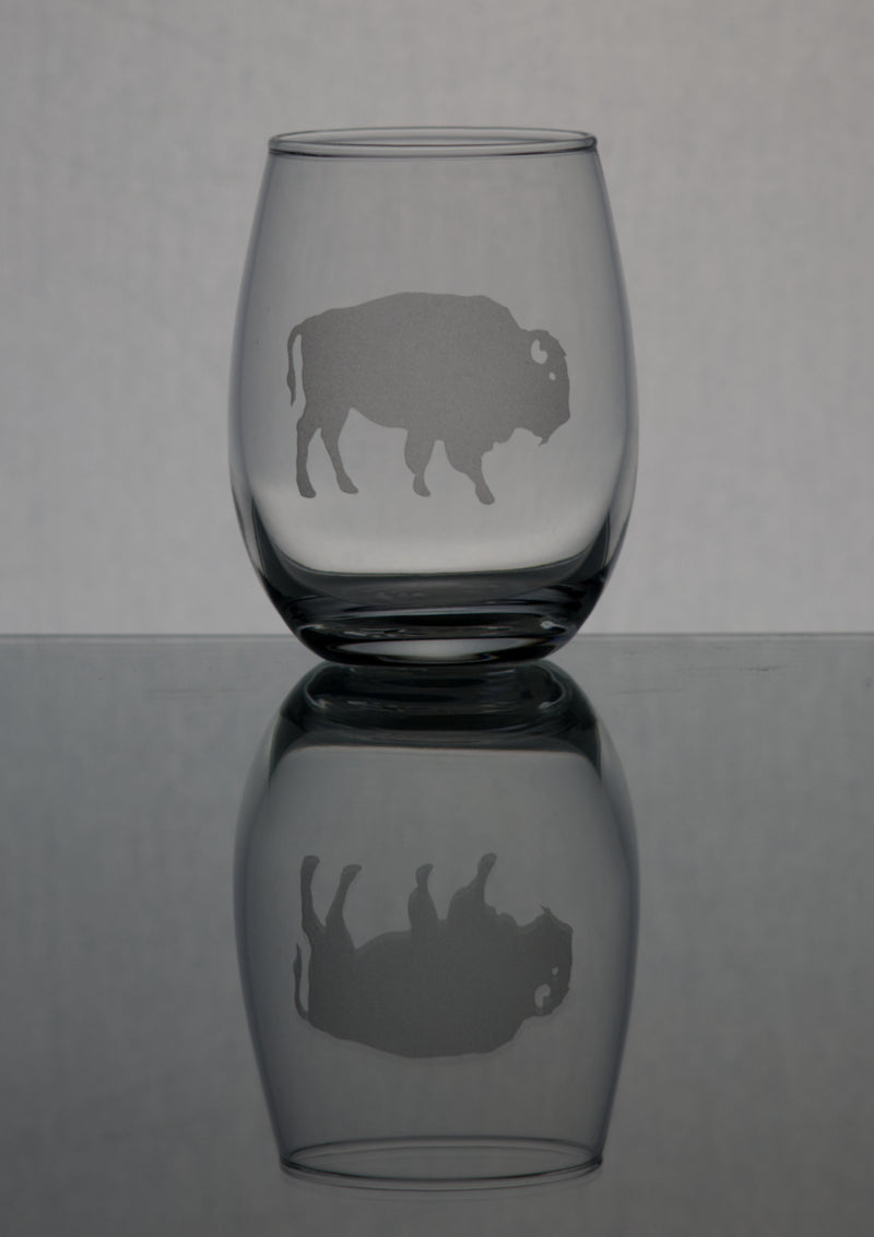 GL007B; 15oz Stemless Wine Glass w/American Bison