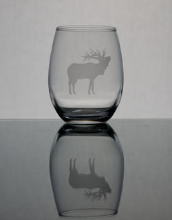 GL007E; 15oz Stemless Wine Glass w/Bull Elk