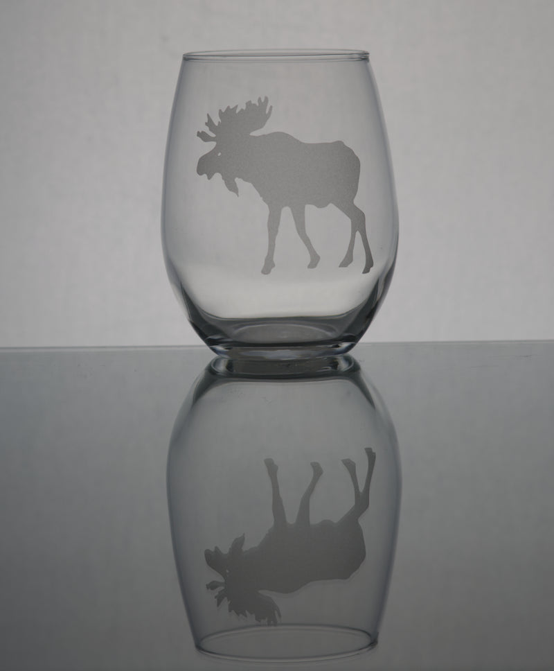 GL007M; 15oz Stemless Wine Glass w/Bull Moose