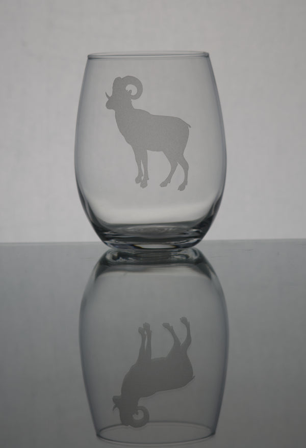GL007R; 15oz Stemless Wine Glass w/Big Horn Ram