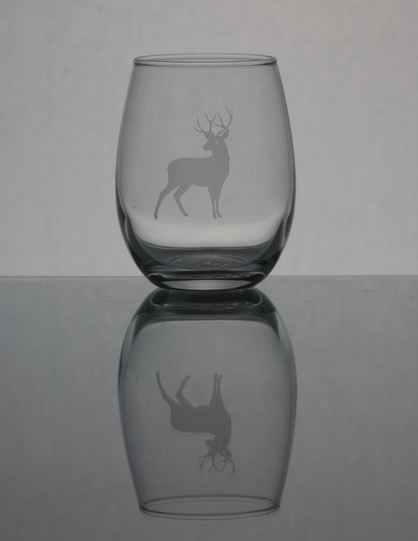 GL007D; 15oz Stemless Wine Glass w/Deer