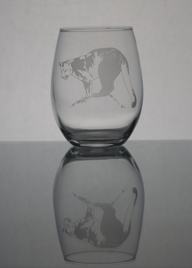 GL008ML; Large Stemless Wine Glass w/Mountain Lion